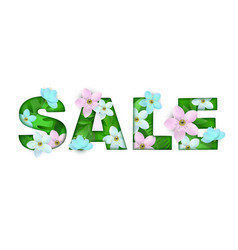 Sale inscription abstract flowers on white vector