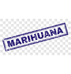 Scratched marihuana rectangle stamp vector