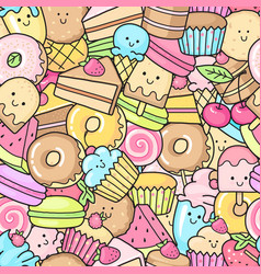 Seamless background of sweet and dessert doodle vector