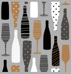 seamless pattern with champagne bottles vector image