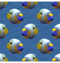 Seamless pattern with polygonal angelfishes vector image