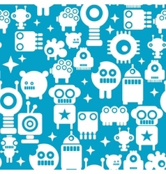 Seamless pattern with white silhouettes of robots vector image