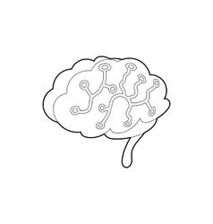Sensors on human brain icon outline style vector