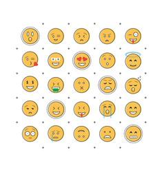 Set emoticon with line vector