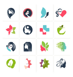 set flat design icons for beauty vector image
