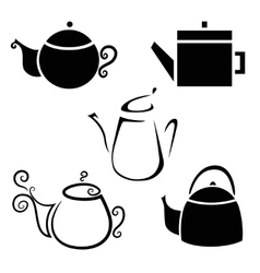Set isolated icon kettles teapots coffee pot vector