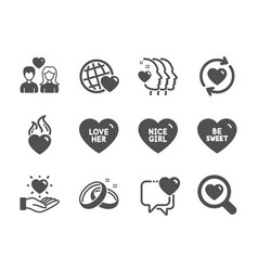 set love icons such as wedding rings hold vector image