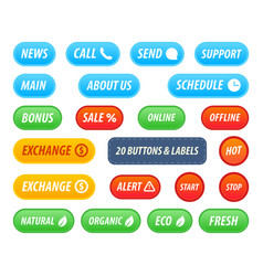 Set of buttons and labels for web site or vector