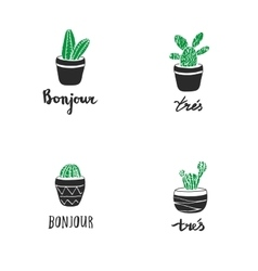 Set of hand drawn cacti with french quotes vector