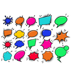 set of pop art style comic cartoon speech bubbles vector image