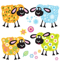 set with sheep seasonal vector image