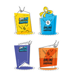 shopping online commercial set tags vector image