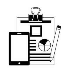 smartphone document report and pencil vector image