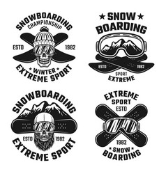 snowboarding emblems badges labels logos vector image