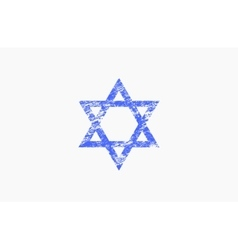 Star of David in grunge style Triangle logo vector image
