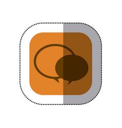 Sticker color square with speech bubble icon vector