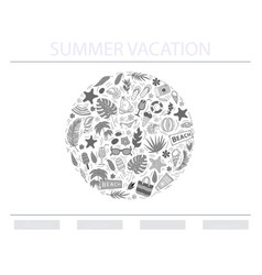 summer vacation conceptin circle vector image