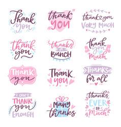 Thank you card text logo letter script vector
