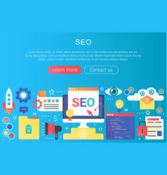 trendy flat gradient color seo optimization vector image