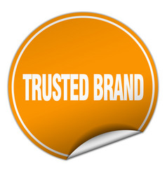 Trusted brand round orange sticker isolated on vector