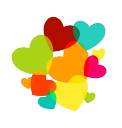 Various multicolored hearts Magenta Cyan yellow vector image