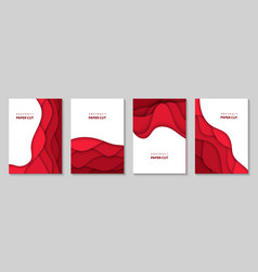Vertical flyers with red paper cut waves shapes vector