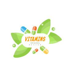 Vitamins logo original design herbal supplement vector
