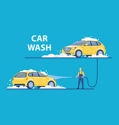 Washing car with foam at vector