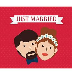 Wedding design over red background vector