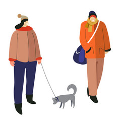 winter activity woman walking with dog and guy vector image