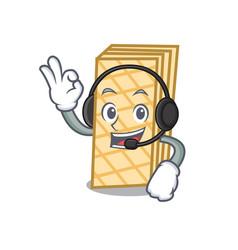 With headphone waffle mascot cartoon style vector