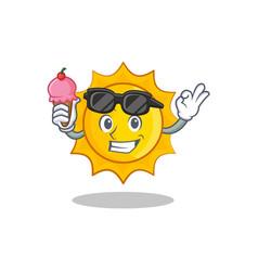 with ice cream cute sun character cartoon vector image
