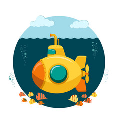 Yellow submarine undersea with fishes flat design vector