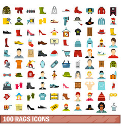100 rags icons set flat style vector image