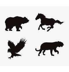 animal silhouettes horse feline eagle and bear vector image