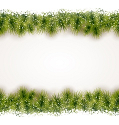 Seamless border of fir twigs with snow vector image