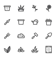 set of icons of gardening garden breeding vector image vector image