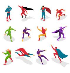 super heroes isometric set vector image vector image