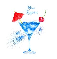 Watercolor Blue Lagoon Cocktail vector image vector image