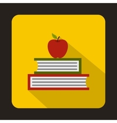 Books with apple icon flat style vector image