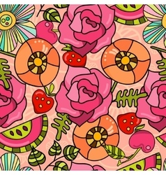 Bright juicy summer pattern of poppies roses and vector image
