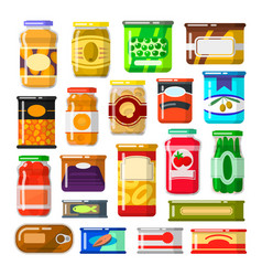 canned goods set vector image