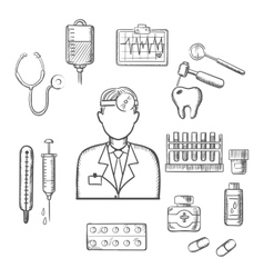 Doctor therapist with medical sketch icons vector image