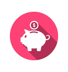 flat icons of piggy bank concept long shadow style vector image vector image