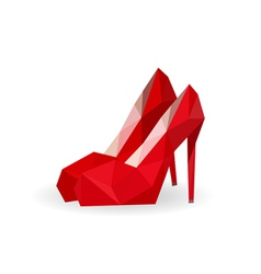 geometric polygonal pair of red shoes vector image