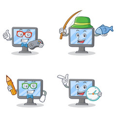 set of monitor character with gamer fishing school vector image