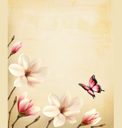 spring background with beautiful magnolia vector image vector image