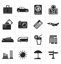 Black Travel and vacation icons vector image