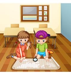 Children reading map in classroom vector image vector image