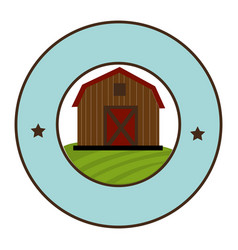 Circular frame with barn of two floors vector